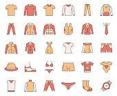 Simple Set of Clothes Related Vector Line Icons. Outline Symbol Collection.