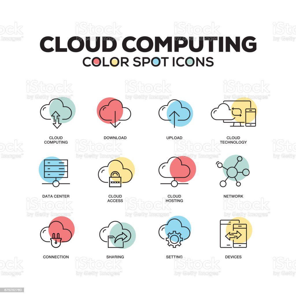 Simple Set of Cloud Computing Color Vector Line Icons vector art illustration