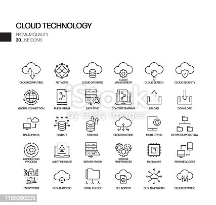 Simple Set of Cloud Technology Related Vector Line Icons. Outline Symbol Collection.