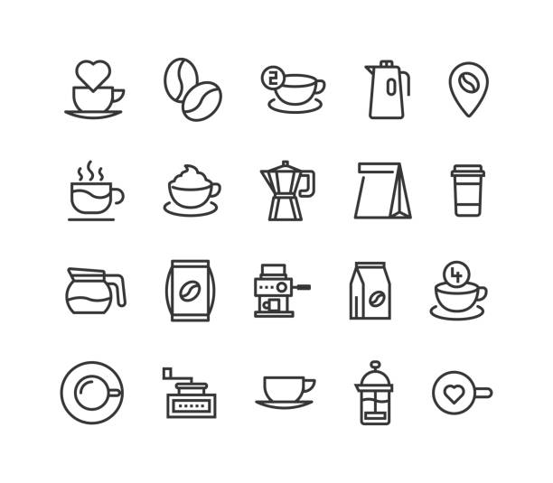 simple set of coffee related vector line icons. editable stroke. 48x48 pixel perfect. - empty vending machine stock illustrations
