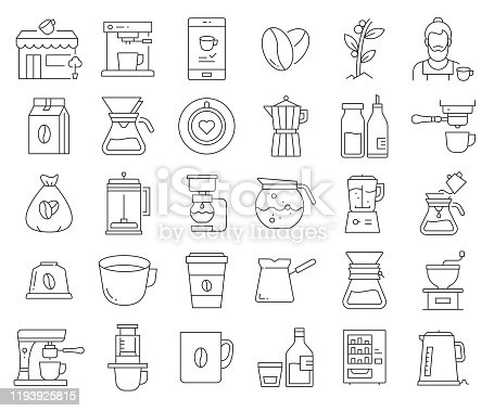 Simple Set of Coffee Related Vector Line Icons. Outline Symbol Collection. Editable Stroke