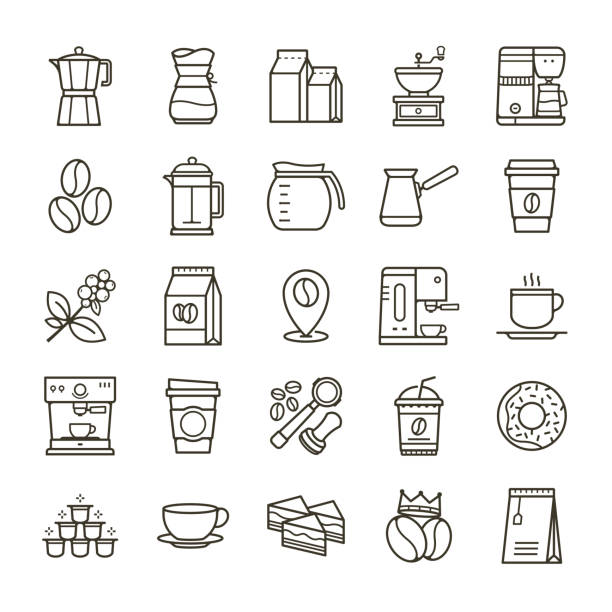 Simple set of Coffee related vector line icons Simple set of Coffee related vector line icons. Collection coffee icons in thin line style. Cafe vector icons. Vector illustration coffee break stock illustrations