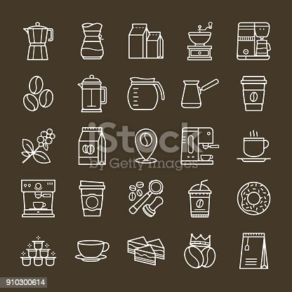 Simple set of Coffee related vector line icons. Collection coffee icons in thin line style on Brown background. Cafe vector icons. Vector illustration