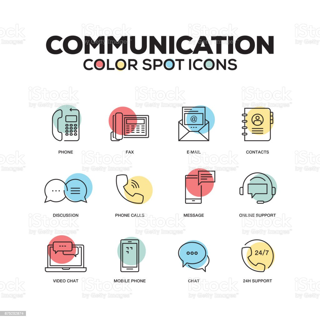Simple Set of Communication Color Vector Line Icons vector art illustration