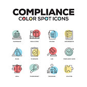 Simple Set of Compliance Color Vector Line Icons