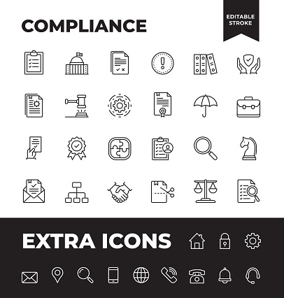 Simple Set of Compliance Vector Line Icons. Editable Stroke. 32x32 Pixel Perfect.