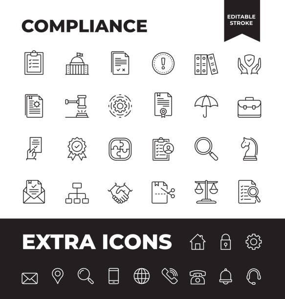 einfacher satz von compliance vector line icons - abenteuer stock-grafiken, -clipart, -cartoons und -symbole