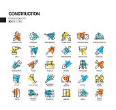 Simple Set of Construction Related Spotlight Vector Line Icons. Outline Symbol Collection.