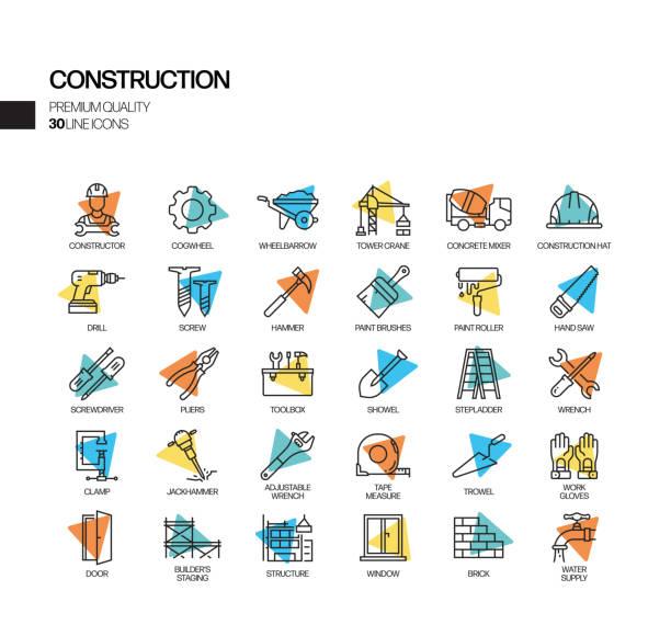 bildbanksillustrationer, clip art samt tecknat material och ikoner med enkel uppsättning konstruktion sändvektorlinjeikoner. samling av dispositionssymbol. - construction workwear floor
