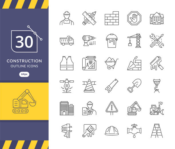 simple set of construction related vector icons - architecture symbols stock illustrations