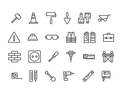 Simple Set of Construction Related Vector Line Icons. Editable Stroke. 48x48 Pixel Perfect