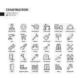 Simple Set of Construction Related Vector Line Icons. Outline Symbol Collection.