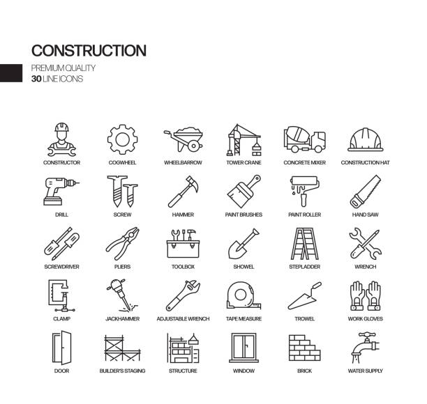 simple set of construction related vector line icons. outline symbol collection. - tools stock illustrations