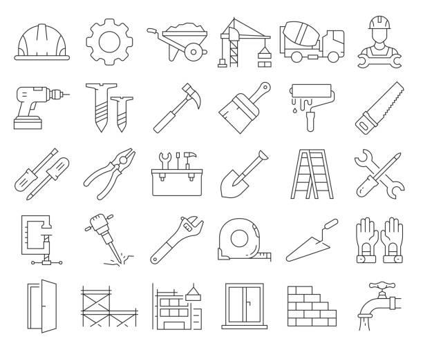 bildbanksillustrationer, clip art samt tecknat material och ikoner med enkel uppsättning av konstruktion relaterade vektor linje ikoner. samling med dispositionssymboler. redigerbar stroke - construction workwear floor
