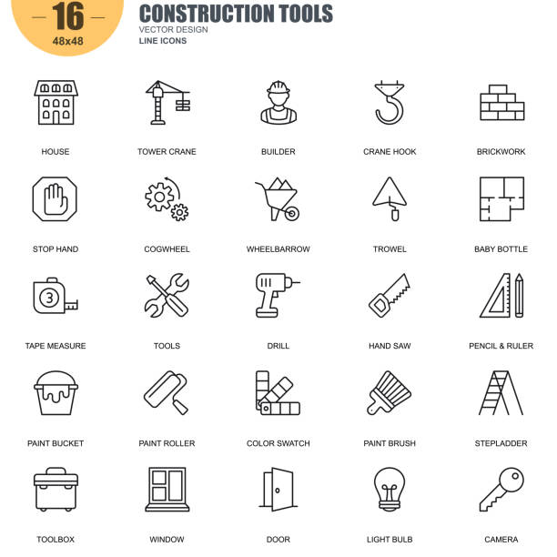 Simple set of construction tools related vector line icons Simple Set of Construction Tools Related Vector Line Icons. Contains such Icons as Tower Crane, Builder, Brickwork, Drill, Hand Saw, Stepladder and more. Editable Stroke. 48x48 Pixel Perfect. renovation stock illustrations