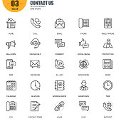 Simple set of contact us related vector line icons