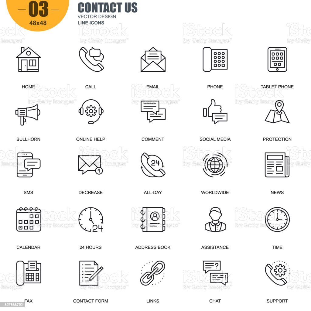 Simple set of contact us related vector line icons vector art illustration