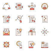 Simple Set of Content Marketing Related Vector Line Icons. Outline Symbol Collection.