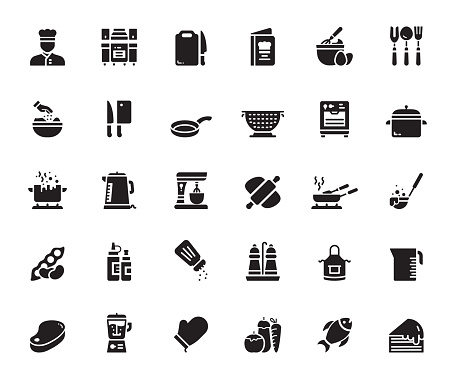 Simple Set of Cooking Related Vector Icons. Symbol Collection.