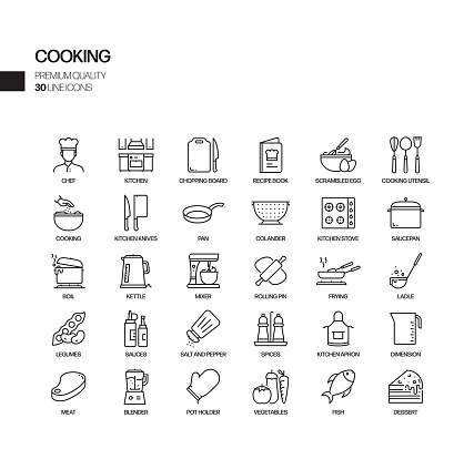 Simple Set of Cooking Related Vector Line Icons. Outline Symbol Collection.