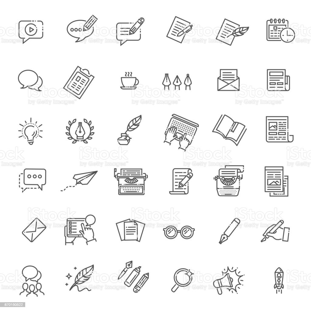 Simple Set of Copywriting Related Vector Line Icons vector art illustration