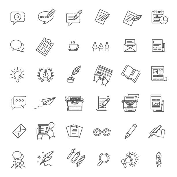 simple set of copywriting related vector line icons - book symbols stock illustrations