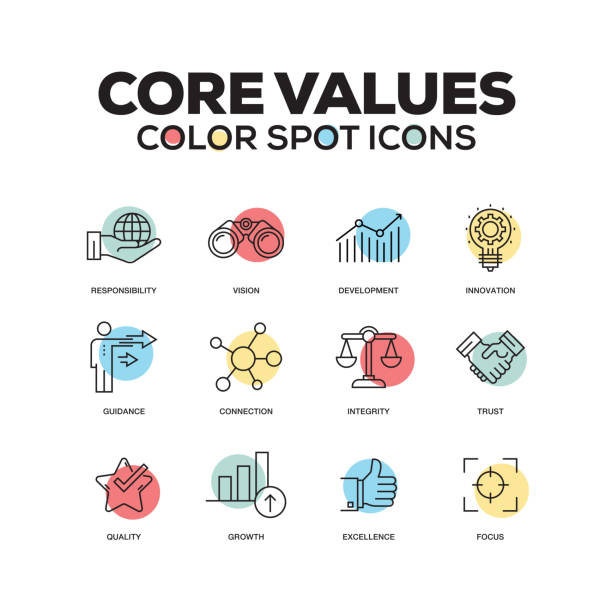 Simple Set of Core Values Color Vector Line Icons vector art illustration