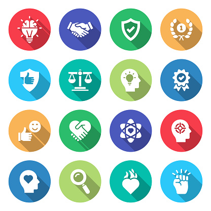 Simple Set of Core Values Related Vector Flat Icons. Symbol Collection.