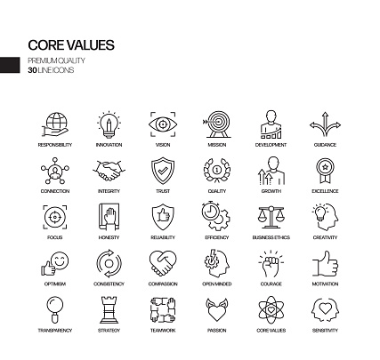 Simple Set of Core Values Related Vector Line Icons. Outline Symbol Collection.