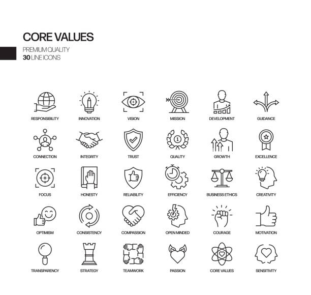 Simple Set of Core Values Related Vector Line Icons. Outline Symbol Collection. Simple Set of Core Values Related Vector Line Icons. Outline Symbol Collection. customs stock illustrations