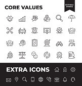 Simple Set of Core Values Vector Line Icons