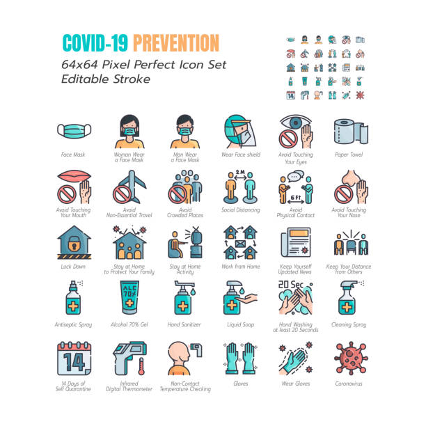 Simple Set of Coronavirus Prevention COVID-19 Filled Line Icons. such Icons as Gloves, Mask, Social Distancing, Stay Home, Quarantine, Avoid Close Contact 64x64 Pixel Perfect Editable Stroke. Vector. Simple Set of Coronavirus Prevention COVID-19 Filled Line Icons. such Icons as Gloves, Mask, Social Distancing, Stay Home, Quarantine, Avoid Close Contact 64x64 Pixel Perfect Editable Stroke. Vector. prevention stock illustrations