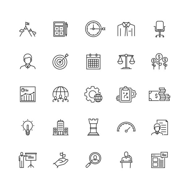 simple set of corporate business related vector line icons - entrepreneurship stock illustrations