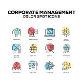 Simple Set of Corporate Management Color Vector Line Icons