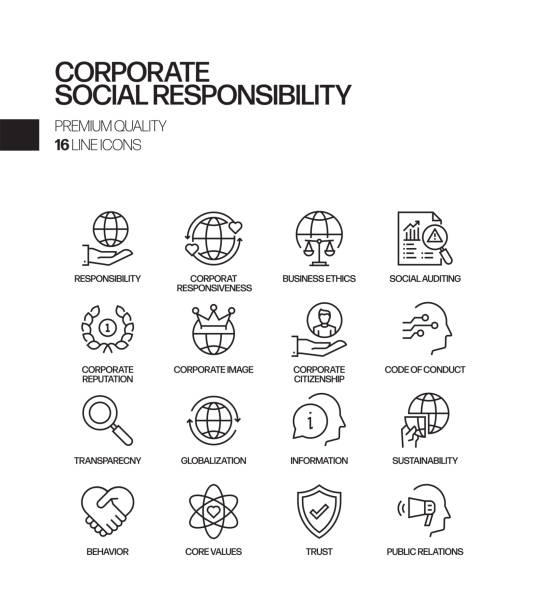 Simple Set of Corporate Social Responsibility Related Vector Line Icons. Outline Symbol Collection Simple Set of Corporate Social Responsibility Related Vector Line Icons. Outline Symbol Collection corporate responsibility stock illustrations