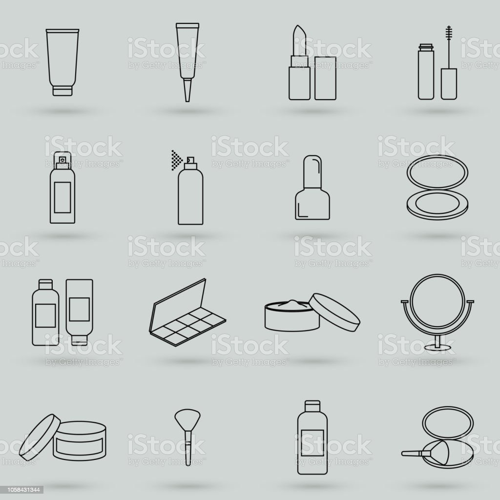 simple set of cosmetics related vector line icons  contains such icons as  cream bottle,