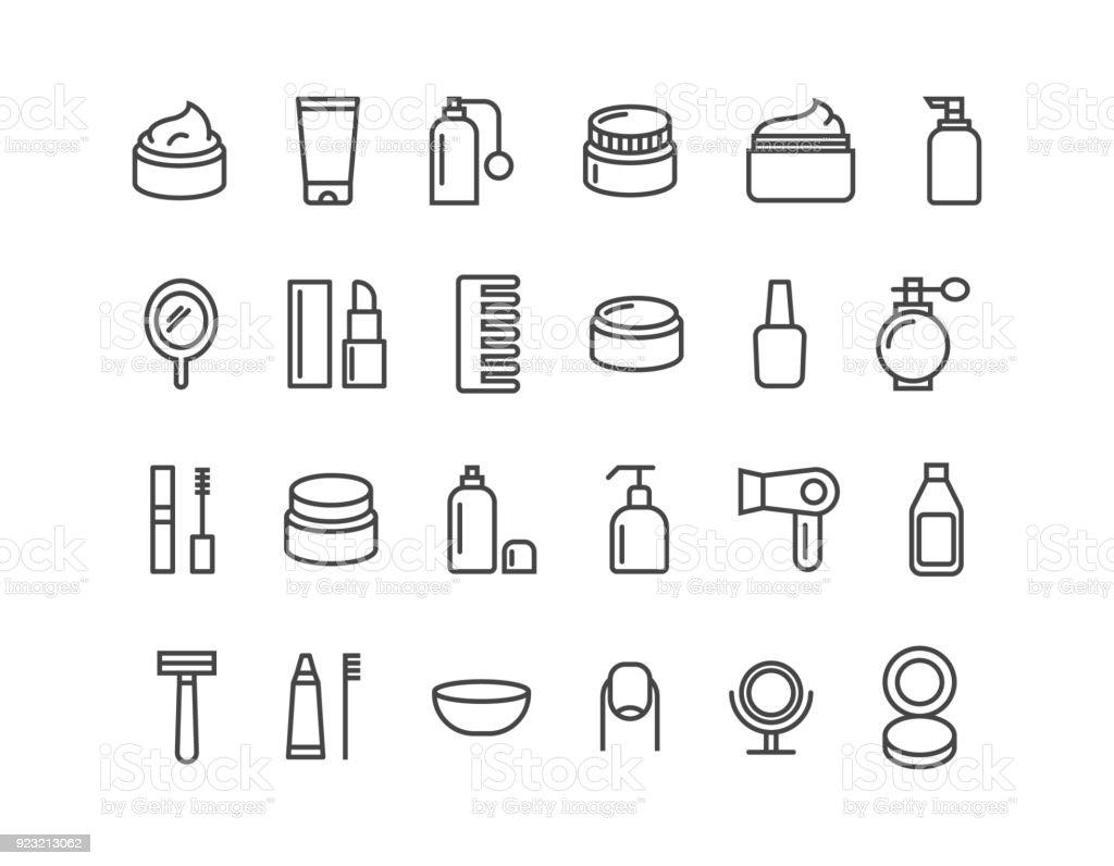 Simple juego de cosméticos relacionados con iconos de línea del Vector. Iconos como crema. Movimiento editable. 48 x 48 Pixel Perfect. - ilustración de arte vectorial