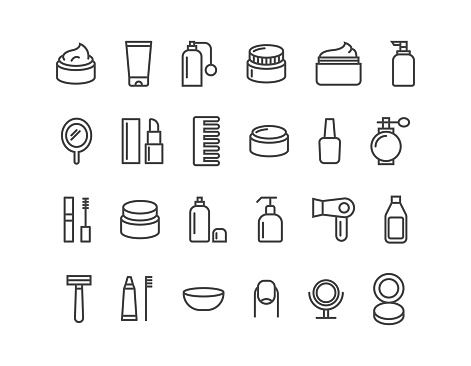 Simple Set Of Cosmetics Related Vector Line Icons Icons As Cream Editable Stroke 48x48 Pixel Perfect - Stockowe grafiki wektorowe i więcej obrazów Atomizer do perfum