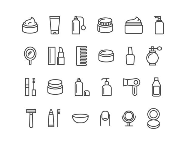 ilustrações de stock, clip art, desenhos animados e ícones de simple set of cosmetics related vector line icons. icons as cream. editable stroke. 48x48 pixel perfect. - make up