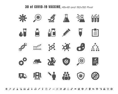 Simple Set of Covid-19, Coronavirus Vaccine Development Solid Glyph Icons. such Icons as Clinical Research, Antibody, Laboratory, Immune, Treatment, Injection Syringe, 48x4 Pixel.