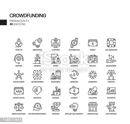Simple Set of Crowdfunding Related Vector Line Icons. Outline Symbol Collection.