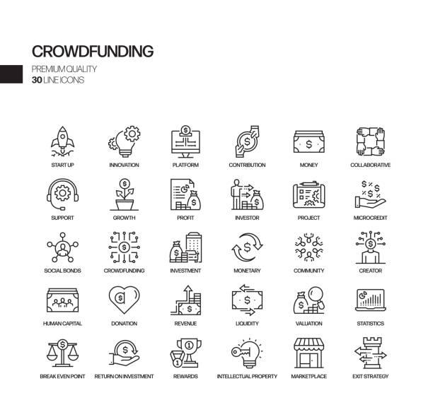 ilustrações, clipart, desenhos animados e ícones de conjunto simples de ícones da linha de vetor relacionado s crowdfunding. coleção de símbolos de esboço. - entrepreneurship