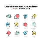 Simple Set of Customer Relationship Color Vector Line Icons