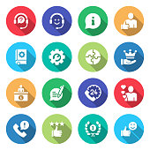 Simple Set of Customer Support Related Vector Flat Icons. Symbol Collection.