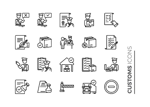 Simple Set of Customs Related Vector Line Icons. Contains such Icons as Declaration, Passport Control, Approve Stamp and more.