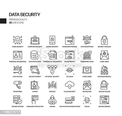 Simple Set of Data Security Related Vector Line Icons. Outline Symbol Collection.