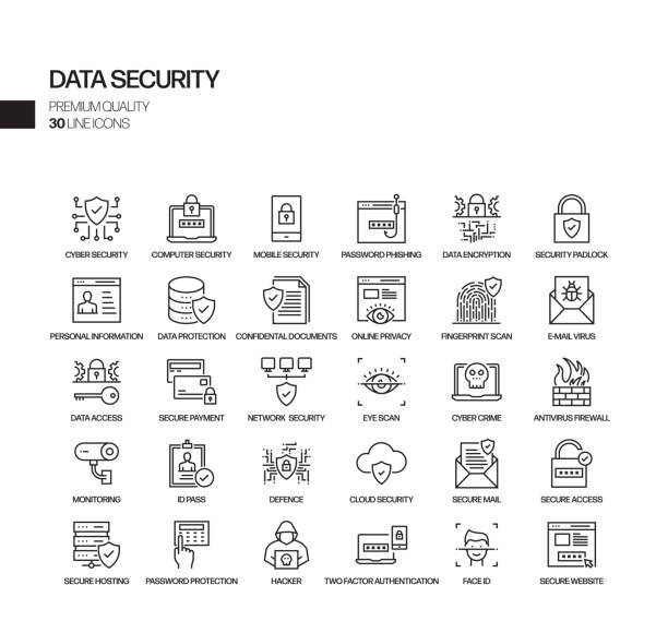 Simple Set of Data Security Related Vector Line Icons. Outline Symbol Collection. Simple Set of Data Security Related Vector Line Icons. Outline Symbol Collection. sicurezza informatica stock illustrations