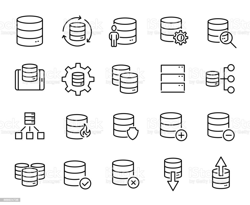 Simple set of database related outline icons. vector art illustration
