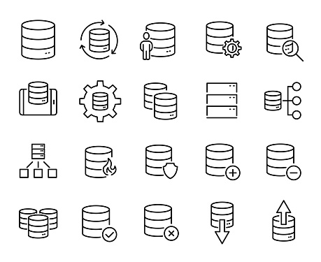 Simple Set Of Database Related Outline Icons Stock