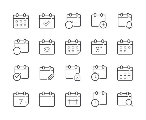 간단한 날짜 및 일정 라인 아이콘의 집합입니다. 편집 가능한 스트로크 - 일과 stock illustrations